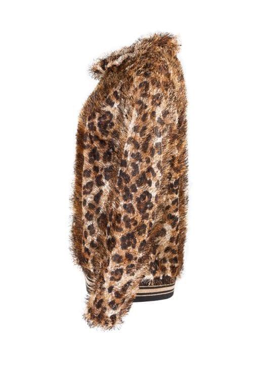 Kriss Tröja leo, leopardmönstrad polotröja med lurvigt garn.