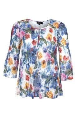 Snygg blommig Kriss Tunika Rami i VIT-BLÅ mönster från vårkollektionen 2019