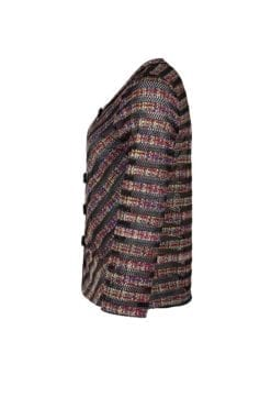 Smidig Jacka Cinn Tweed där hålmönstrad, svart rand möter multifärger på en tweed-printad botten.