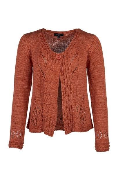 Kriss Cardigan Camilla | Enfärgad cardigan med hålmönster-dekorationer, ribbdetaljer och flatstickat. Modellen är rak i passformen.