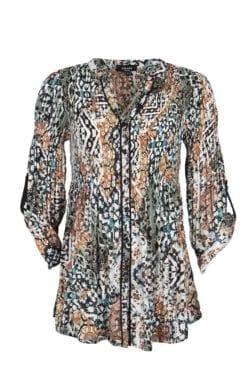 Kriss Tunika Marakesh | Vacker plisserad tunika med härligt print. Tre-kvarts lång slät ärm med ett plisserat band på överärmen och slejf på insidan.