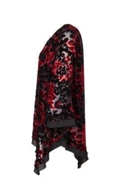 Tunika Vilma Tunika i vacker sammets burnout i färgerna mörkröd och svart.