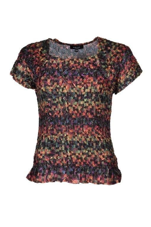 Topp Square Melvina En favorit med klädsam fyrkantsringning och höstigt print.